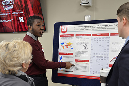 International business student Quincey Bernard shares his innovation research as part of the festivities.