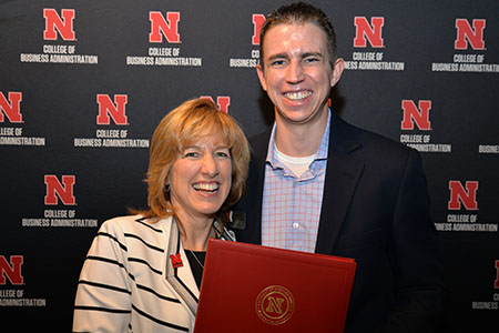 Cole Weers receives advanced sales certificate in professional selling from Interim Dean Kathy Farrell