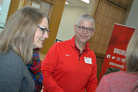 Darren Lunzmann returned to his alma mater for the first time in many years to participate in the alumni tailgate.