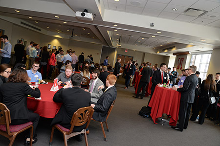 Students connected with panelists and peers during the hour-long networking session.