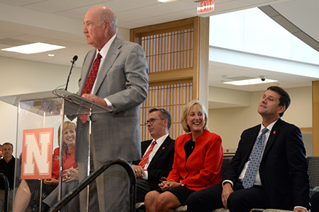 Howard Hawks helped celebrate the opening of the new College of Business Howard L. Hawks Hall.