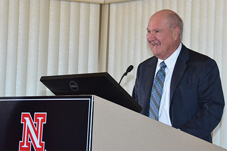 Hawks speaking at College of Business building groundbreaking ceremony in 2015.