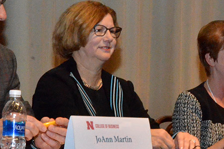 JoAnn Martin engages with students at a past Executive Insights.