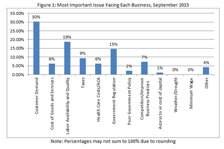Most important issues facing each business, September 2015