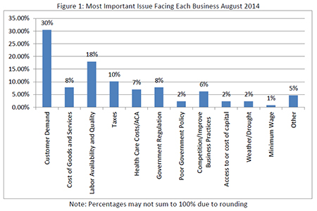 Most Important Issue Facing Business in August 2014