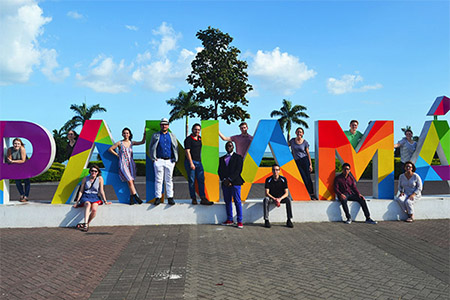 Osiri surrounded by his students on a trip to Panama.