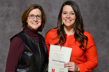 Janessa Hageman (right) received the Parents Association award for the first time.
