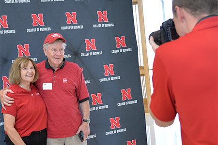 Guests show their Husker spirit at last year's alumni tailgate.