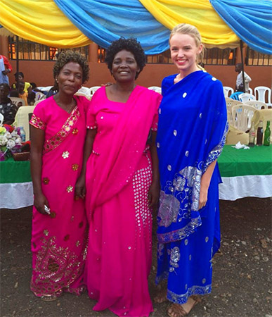 van Waes with Ugandan women