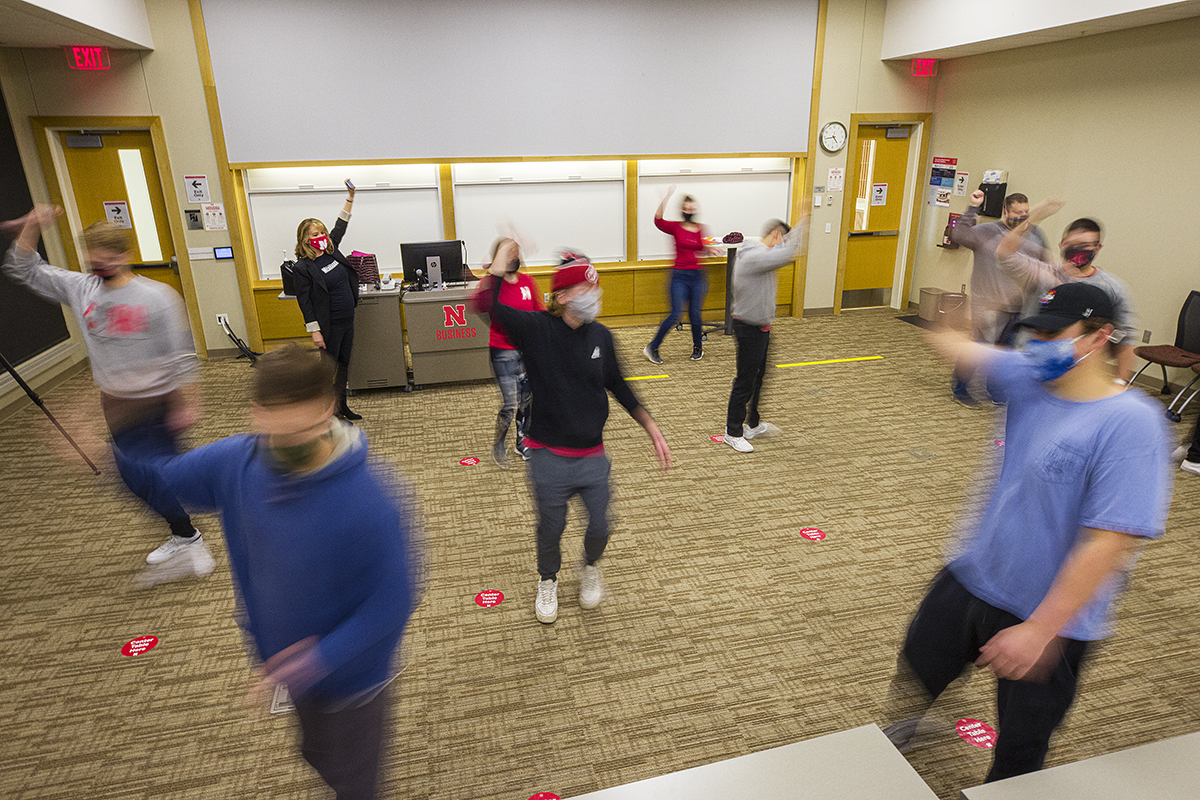 Students work on improv in the new Research and Communication in Accounting course.