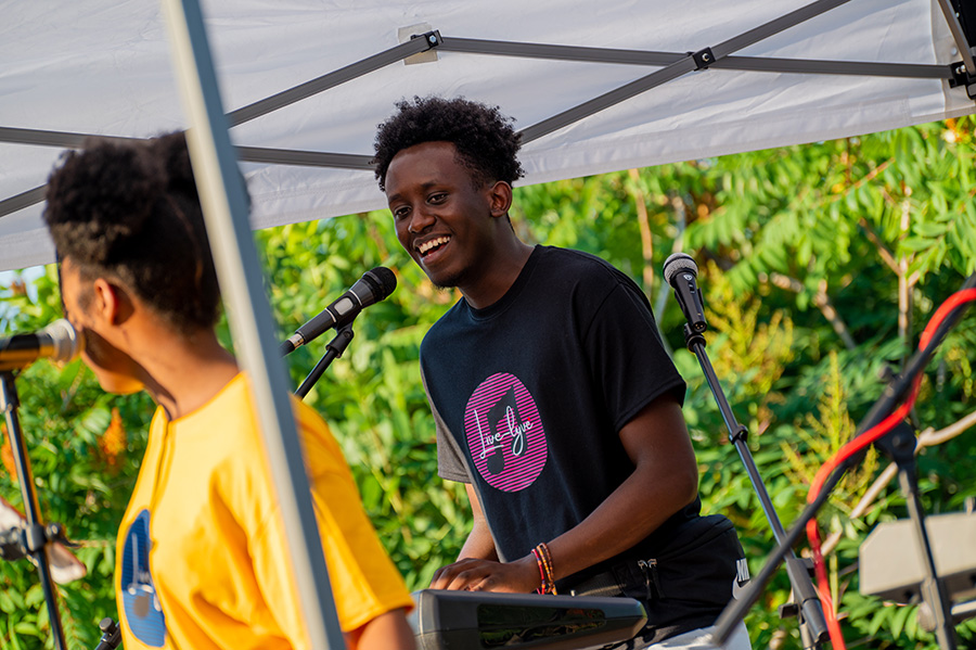 Japhet Ingeri, junior integrated science major, served as a teaching assistant for the virtual course. As a member of the Live-lyve Band, he played keyboard and sang vocals at the concert.