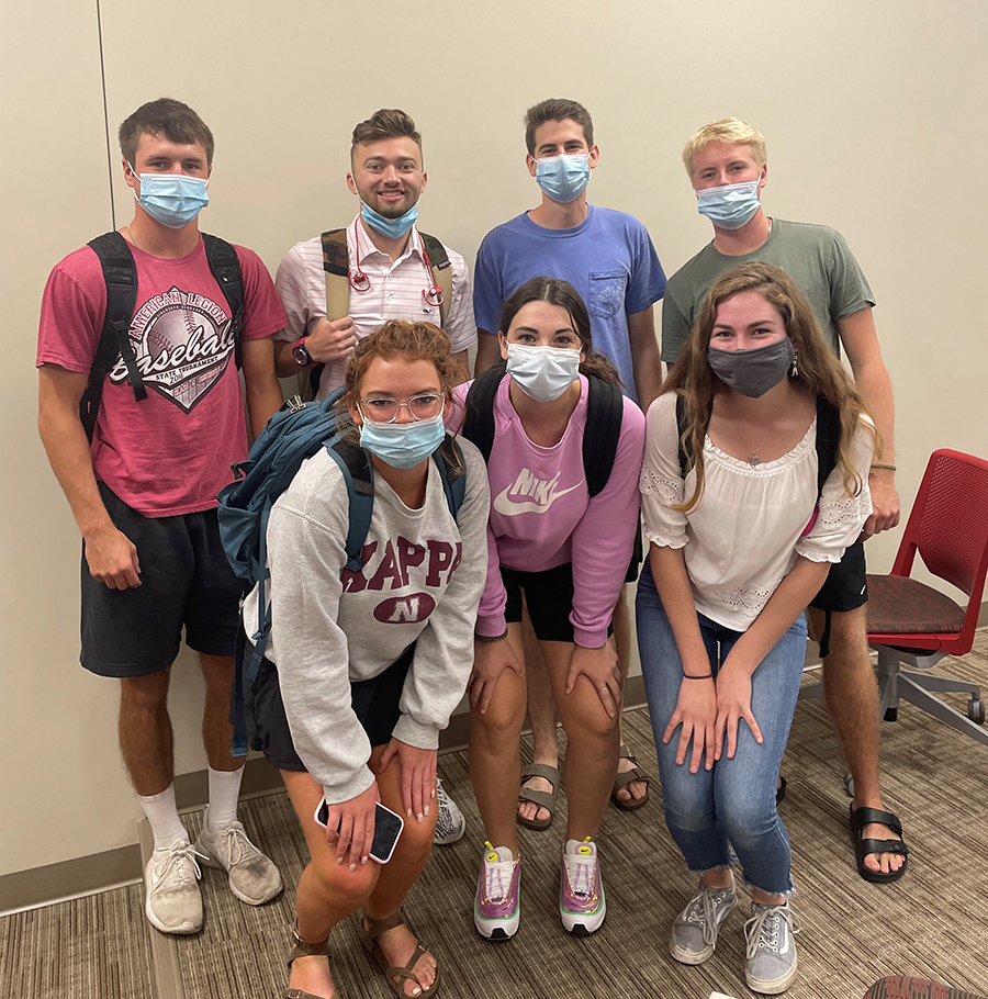 Pictured are the students of the Publicity Group, who write the weekly blog. Back row (from left to right): Drake Kunze, Luke Johnson, Ethan Carlson, Nate Martin. Front row (from left to right): Jordan Kuhn, Soffi Olson, Maddie Walker.