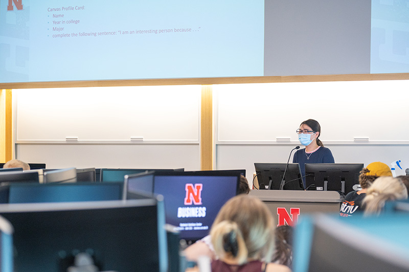 Alongside her research, Lan also teaches students at the college about business analytics.