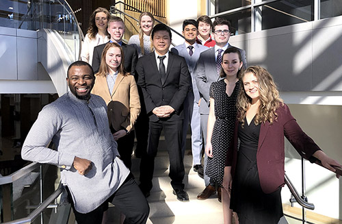The latest cohort of Allan Noddle International Business Distinguished Scholars participated in an induction ceremony March 6.
