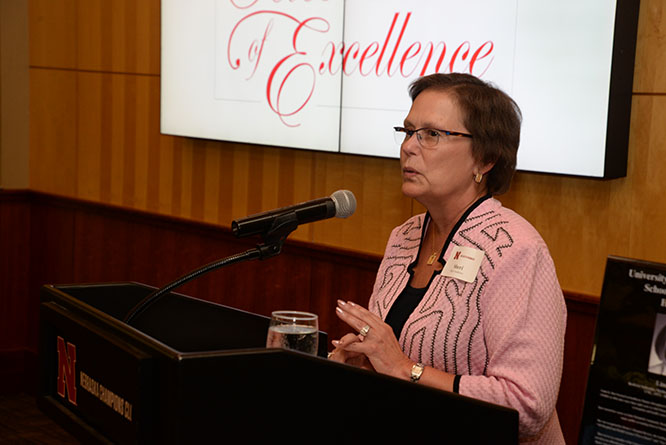 Former School of Accountancy Hall of Fame recipient Sheri Andrews gave the keynote address at the Celebration of Excellence.