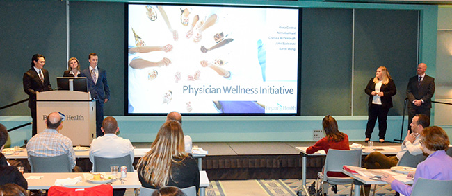 Aaron Wong, Oana Costea, Nicholas Hunt, Chelsea McDonough and John Szalewski presented their plan for physician wellness.
