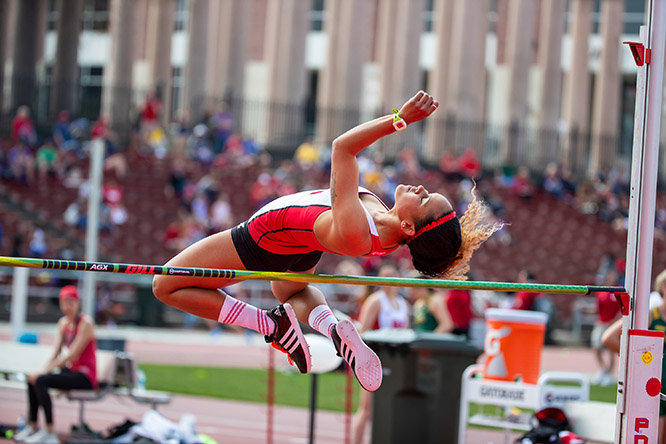 Candice Dominguez competed in the high jump for the Huskers during her time at Nebraska.