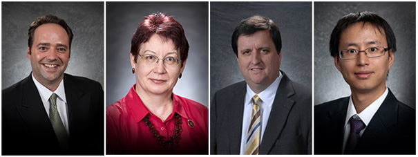 Drs. Sam Nelson, Elina Ibrayeva, Eric Thompson and Jifeng Yu all received promotions at the College of Business.