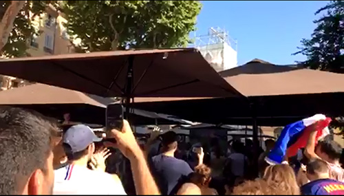 French citizens rejoice rooting for their national team at a World Cup viewing party.