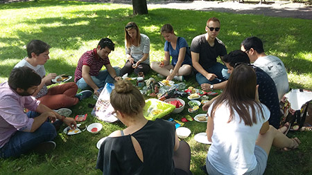Company picnic in the park.