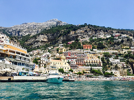 Fourth of July in Italy - Viewing Positano from the boat.