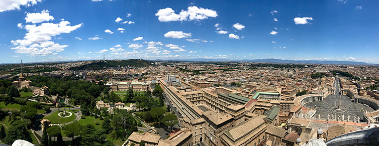 Panoramic view from the top of the Vatican.