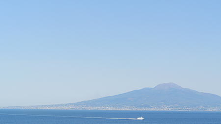 Mt. Vesuvius just across the pond from Sorrento.