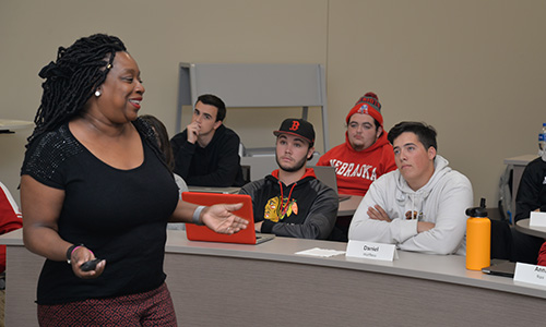 Karen Kassebaum, director of staff diversity and inclusion at Nebraska, challenged students to have conversations when confronted with language that might negatively impact others.