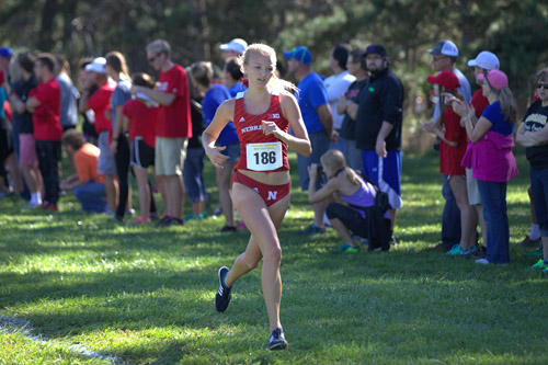 Markusch competing as a member of the Nebraska cross country team.