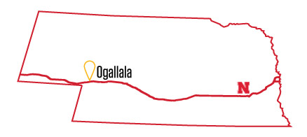 Ogallala, Nebraska, is about 277 miles west of Lincoln
