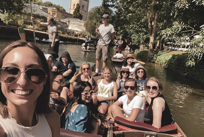 Audrey and friends enjoy punting down the river.