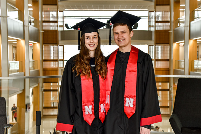 Schirmer and Kylee Yakel both graduated with honors and jobs awaiting them.