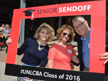 CBA grad Nicci Poehling with her parents at Senior Sendoff