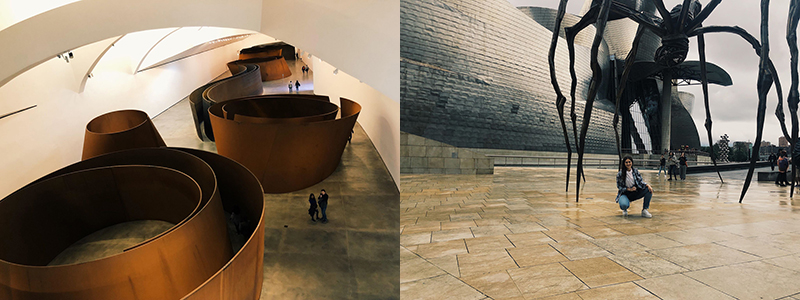 "Ariel Zach's favorite work at the museum: ""The Matter of Time"" by Richard Serra (left), and with smiles under ""Mom"" by Louise Bourgeois at the Guggenheim Museum in Bilbao, Spain. Both artists have artwork displayed at the University of Nebraska-Lincoln."
