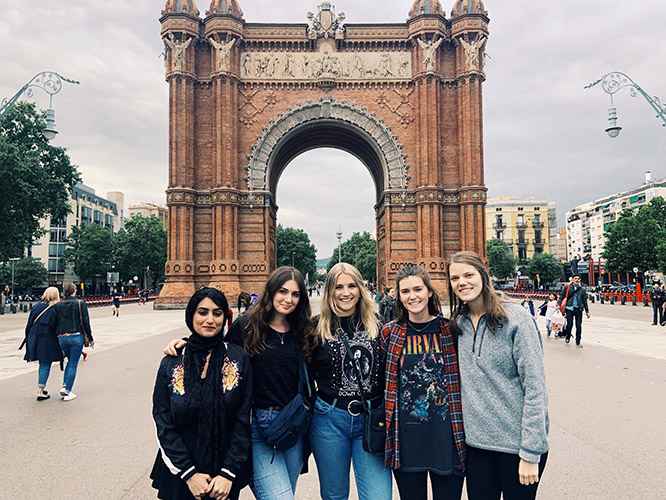 Nebraska students visit the Arc de Triomf in Barcelona.
