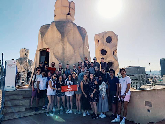 Nebraska students pose on the top of La Pedrera, one of the most visited buildings in Barcelona.