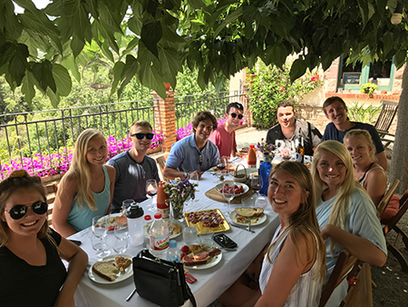 Students enjoying an afternoon at Boquet D'alella, a beautiful local winery.