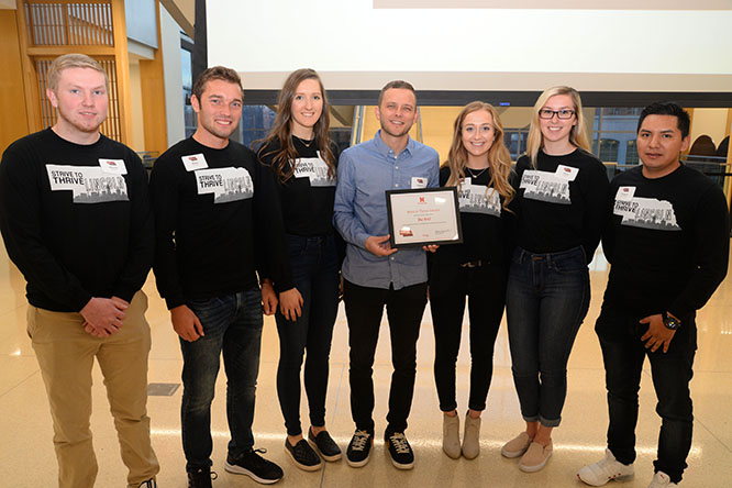 Fall 2019 Strive to Thrive Lincoln students award a $5,000 grant to The BAY, which creates healthy communities through street outreach, skating, art and music.