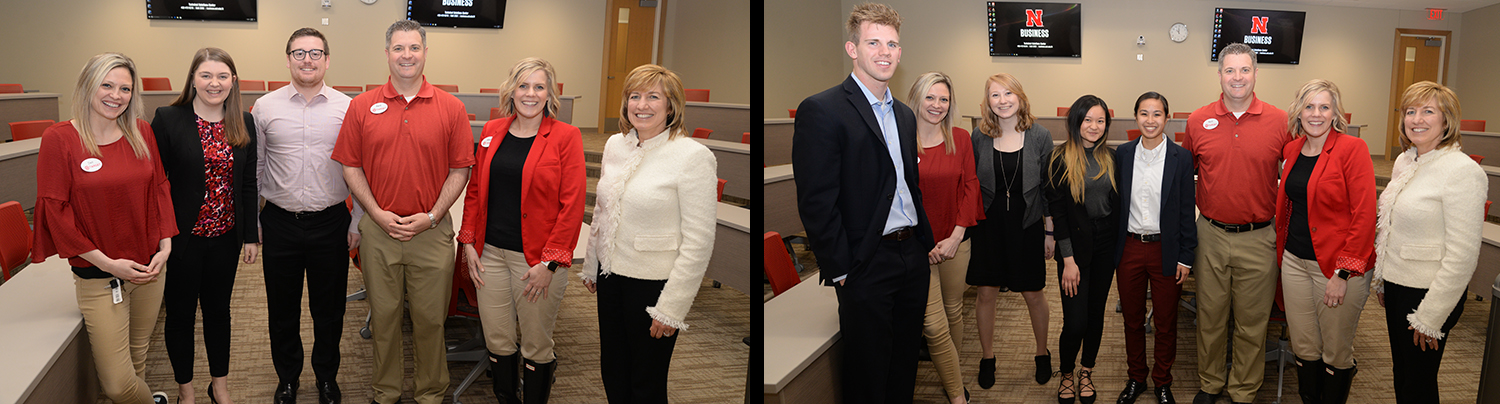 Dean Kathy Farrell poses with members of the top two Target Case Competition teams.